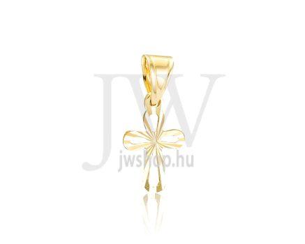 Sárga arany, vésett, kereszt medál - 240