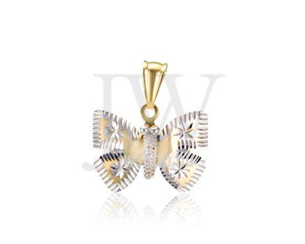 Sárga-fehér arany, vésett, pillangó medál - 257