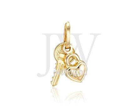 Sárga arany, kulcs, szív medál - 270