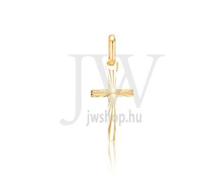 Sárga arany, vésett kereszt medál - 303