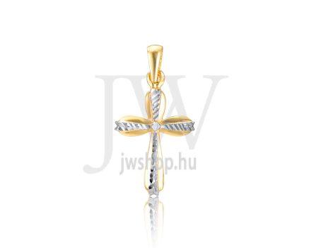 Sárga-fehér arany, vésett kereszt medál - 312