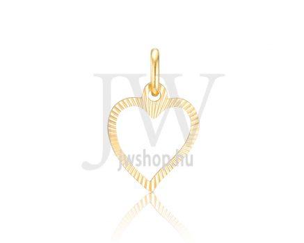 Sárga arany, vésett, szív medál - 316
