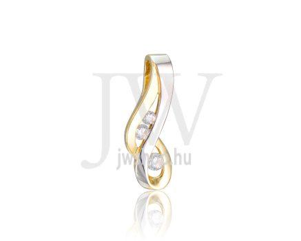 Sárga-fehér arany, köves medál - 350