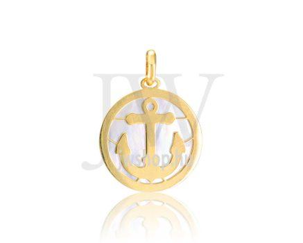 Sárga arany, gyöngyházas medál - 358