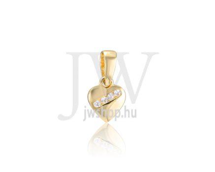 Sárga arany, köves szív medál - 363