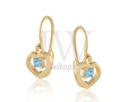"""Sárga arany """"szív, kék kővel"""" gyermek fülbevaló"""