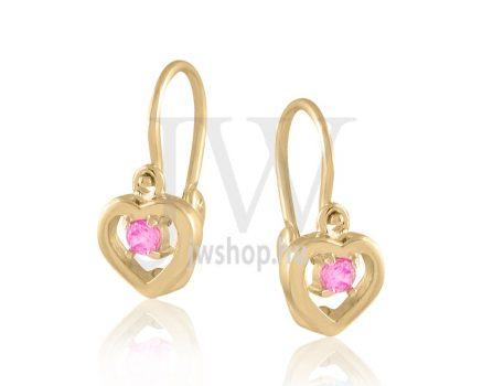 """Sárga arany """"szív, rózsaszín kővel"""" gyermek fülbevaló"""