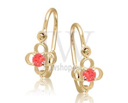 """Sárga arany """"virág, 4 szirommal, piros kővel"""" gyermek fülbevaló"""