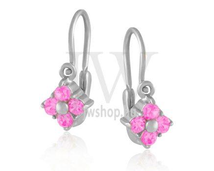 Fehér arany, 4 rózsaszín köves gyermek fülbevaló