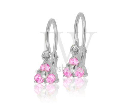 Fehér arany, 3 kicsi rózsaszín köves, háromszög alakú, gyermek fülbevaló