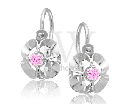 Fehér arany, 1 rózsaszín köves gyermek fülbevaló