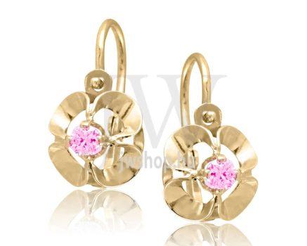 Sárga arany, 1 rózsaszín köves gyermek fülbevaló