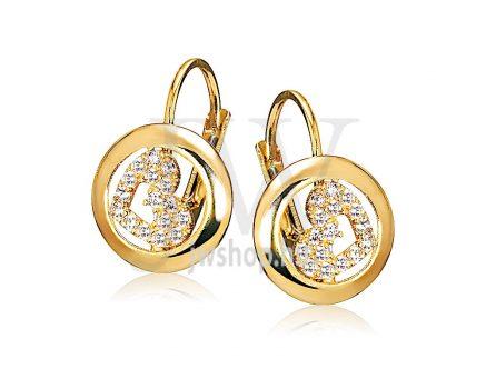 Sárga arany köves patentzáras fülbevaló  FGYP1