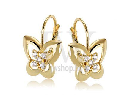 Sárga arany köves patentzáras fülbevaló  FGYP37