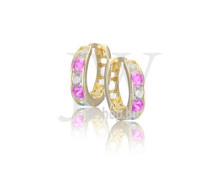 Sárga arany, kerek, fehér-rózsaszín köves fülbevaló
