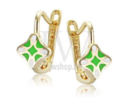 Sárga arany, zöld-fehér gyermek fülbevaló