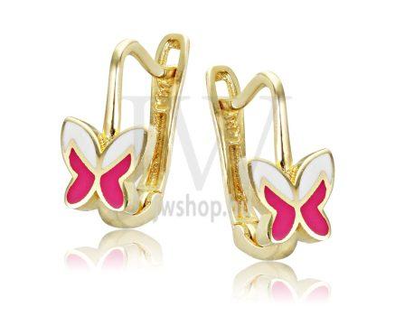 Sárga arany, rózsaszín-fehér pillangó gyermek fülbevaló