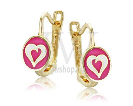 Sárga arany, rózsaszín-fehér szív gyermek fülbevaló