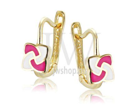 Sárga arany, rózsaszín-fehér gyermek fülbevaló