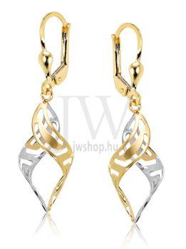 Fehér és sárga arany lógós fülbevaló