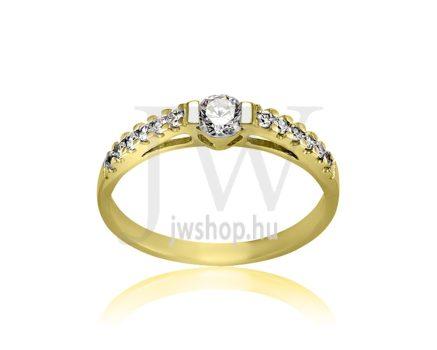 Sárga arany, köves eljegyzési gyűrű - SZ12/S