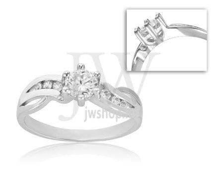 Fehér arany, köves eljegyzési gyűrű - SZ18/F