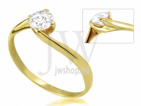 Sárga arany, köves eljegyzési gyűrű - SZ26/S
