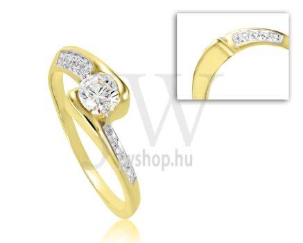 Sárga arany, köves eljegyzési gyűrű - SZ2/S