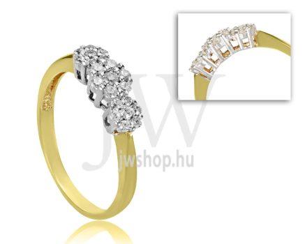 Sárga arany, köves eljegyzési gyűrű - SZ30/S
