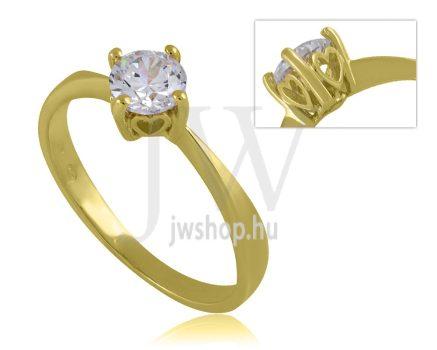 Sárga arany, köves eljegyzési gyűrű - SZ37/S