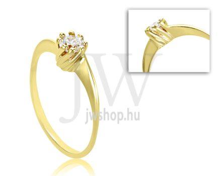 Sárga arany, köves eljegyzési gyűrű - SZ39/S