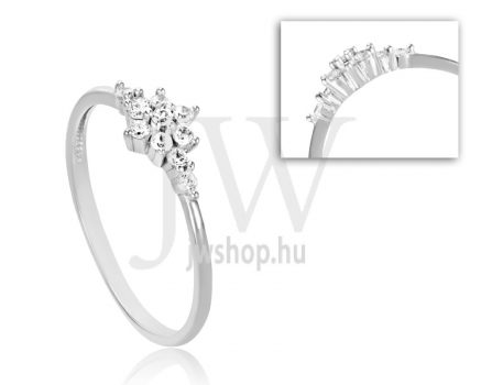 Fehér arany, köves eljegyzési gyűrű - SZ3/F