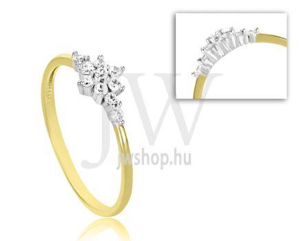 Sárga arany, köves eljegyzési gyűrű - SZ3/S