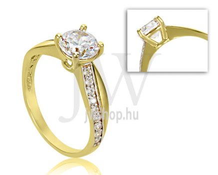 Sárga arany, köves eljegyzési gyűrű - SZ5/S