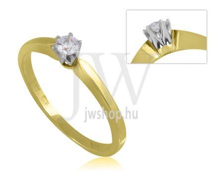 Sárga arany, köves eljegyzési gyűrű - SZ7/S