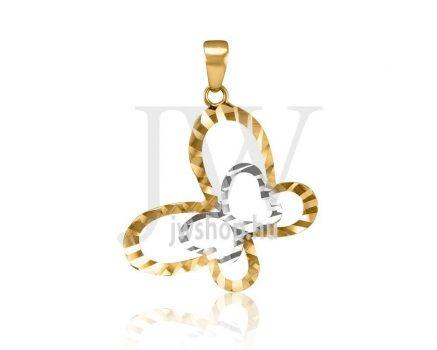 Fehér-sárga arany, vésett pillangó medál - 166