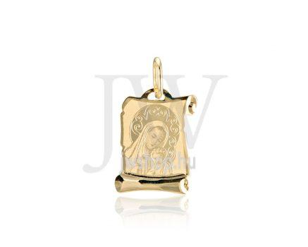 Sárga arany, vésett, pergamen Mária medál - 256