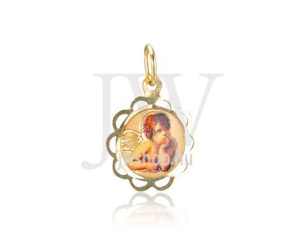 Sárga arany, kör, angyalkás medál - 261