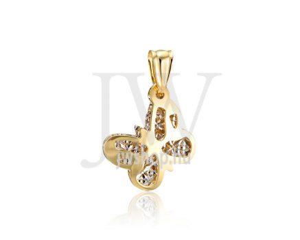 Sárga-fehér arany, vésett, dupla rétegű pillangó medál - 269