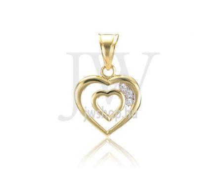 Fehér arany, köves, szív medál - 279