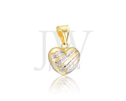 Sárga-fehér, vésett, szív medál - 290