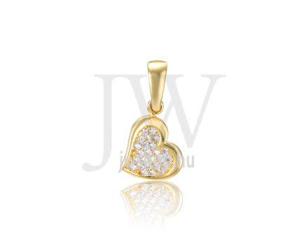 Sárga arany, szív, köves medál - 292