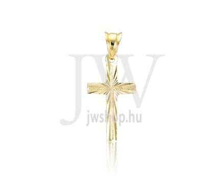 Sárga arany, vésett kereszt medál - 298