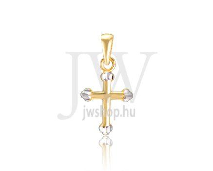 Sárga-fehér arany, kereszt medál - 313