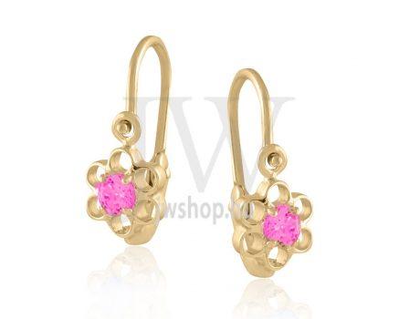 """Sárga arany """"virág, 6 szirommal, rózsaszín kővel"""" gyermek fülbevaló"""