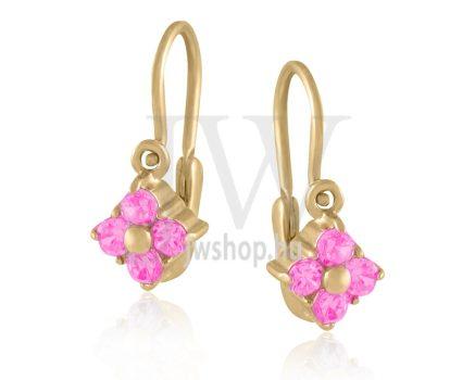 Sárga arany, 4 rózsaszín köves gyermek fülbevaló