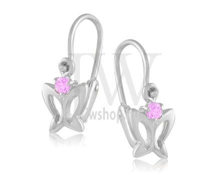 Fehér arany, 1 kicsi rózsaszín köves, pillangó gyermek fülbevaló
