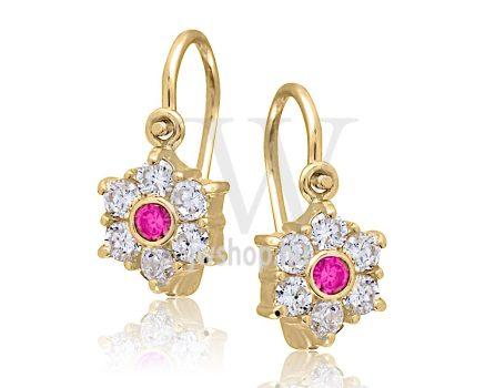 Sárga arany, 6 rózsaszín köves gyermek fülbevaló