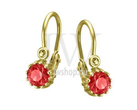 Sárga arany, 1 piros köves gyermek fülbevaló