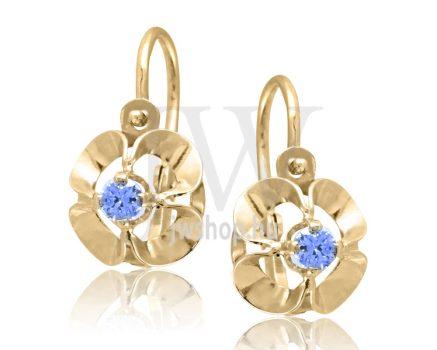 Sárga arany, 1 kék köves gyermek fülbevaló